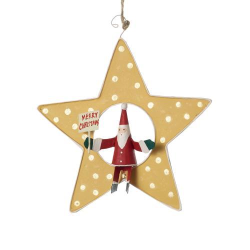 "1"" x 5"" Yellow Shooting Star Ornament (Santa Option)"