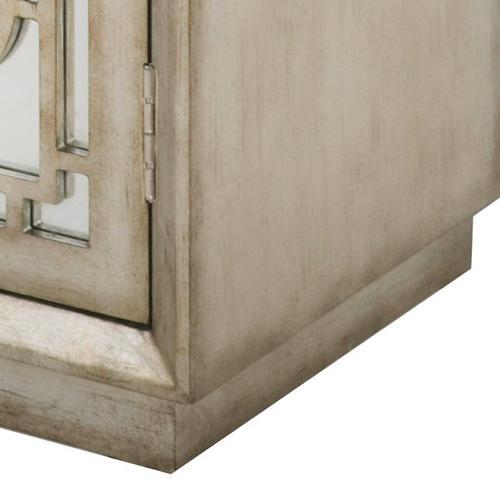 Antique Silver Mirrored Overlay Door Chest