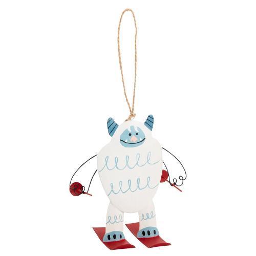 """4""""x 2.75""""x 4.25"""" White Yeti Ski Bum Ornament (Ski Option)"""