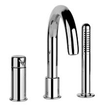 """Three-hole roman tub set Diverter Spout - Projection 7-3/8"""" Handshower 59"""" flex hose Handshower max flow rate 2.0 GPM Spout max flow rate 5.0 GPM at 43 PSI"""