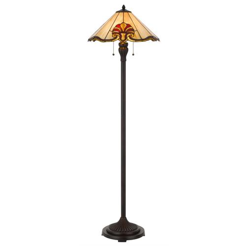 60W x 2 Tiffany table lamp with pull chain switch with metal and resin lamp body