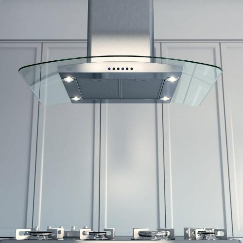 "36""W 395 CFM Curved Glass Chimney Island Hood"