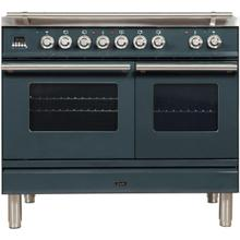Professional Plus 40 Inch Dual Fuel Natural Gas Freestanding Range in Blue Grey with Chrome Trim