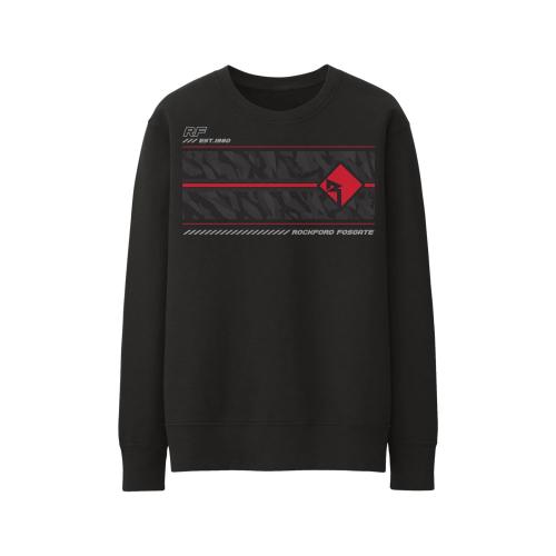 Rockford Fosgate - Black Sweatshirt with Red Diamond-R Logo over a Grey Camouflage Pattern (M)