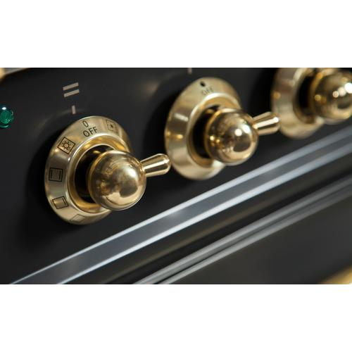 Nostalgie 24 Inch Dual Fuel Natural Gas Freestanding Range in Glossy Black with Brass Trim