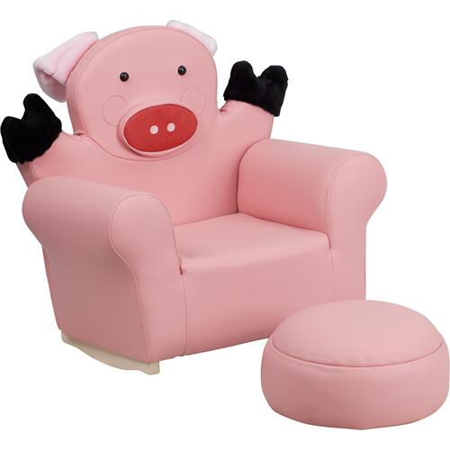 Kids Pig Rocker Chair and Footrest