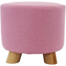 See Details - Critter Sitters 10-Inch Pink Upholstered Mini Foot Stool with Wooden Legs, CSFTSTL-PNK