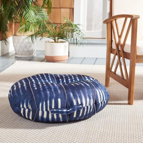 Laurena Round Floor Pillow - Navy / White