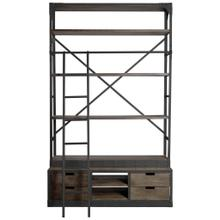 Brodie VIII 57L x 20.5W x 94H Brown Wood Gun-Metal Ladder Four Shelf Shelving Unit