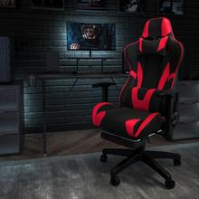 Black Gaming Desk and Red\/Black Footrest Reclining Gaming Chair Set with Cup Holder, Headphone Hook, & Monitor\/Smartphone Stand