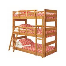 View Product - Heartland Twin Triple Bunk Bed with options: Honey Pine, Twin over Twin over Twin