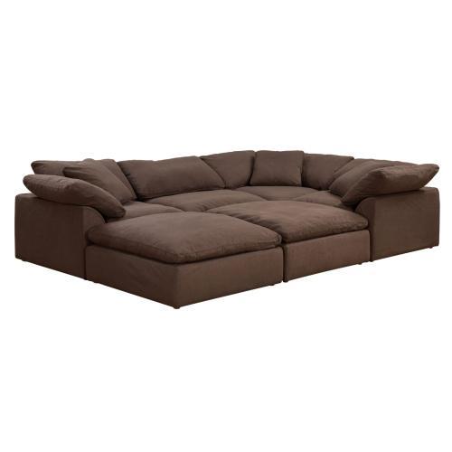 Cloud Puff Slipcovered Modular Pitt Sectional Sofa (6 Piece)