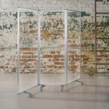"Transparent Acrylic Mobile Partition with Lockable Casters, 72""H x 24""L (3 Sections Included)"