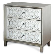 SOPHIE CHEST  32in w. X 32in ht. X 16in d.  Three Drawer Chest with Laser Cut Stainless Steel Over
