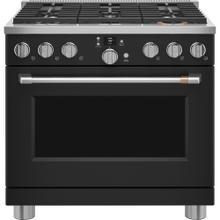 """View Product - Café 36"""" Smart Dual-Fuel Commercial-Style Range Matte Black"""