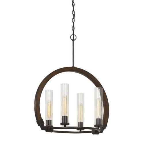 60W X 4 Sulmona Wood/Metal Chandelier With Glass Shade (Edison Bulbs Not inlcluded)