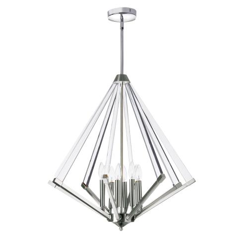 8lt Chandelier Polished Chrome With Acrylic Arms