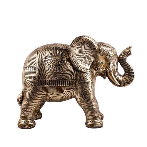 "Sagebrook Home - Polyresin 11"" Textured Elephant Figurine, Gold"