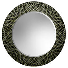 Large Frameless Round Wall Mirror with Black Etching