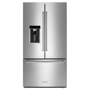 "KitchenAid23.8 cu. ft. 36"" Counter-Depth French Door Platinum Interior Refrigerator with PrintShield™ Finish - Stainless Steel with PrintShield™ Finish"