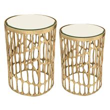 """S/2 Aluminum 22/19"""" Mirror Top Accent Table, Gold"""