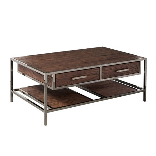 Modern 2 Drawer Wood and Metal Coffee Table