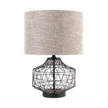 "See Details - Clark (20""H) Bronze Barrel Metal Base Beige Linen Shade Table Lamp"