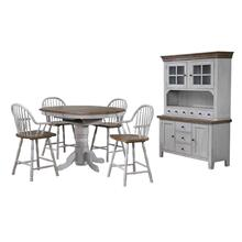 DLU-CG4260CB30AGOBH6  6 Piece Round or Oval Extendable Pub Table Set  4 Barstools with Arms  Lighted China Cabinet  Distressed Gray and Brown Wood