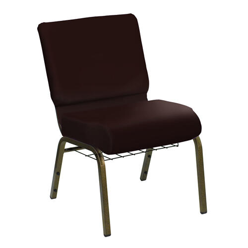 HERCULES Series 21''W Church Chair in E-Z Sierra Maple Vinyl with Book Rack - Gold Vein Frame