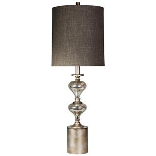 Contemporary brushed metal and mercury silver glass table lamp Textile shade in designer fabric
