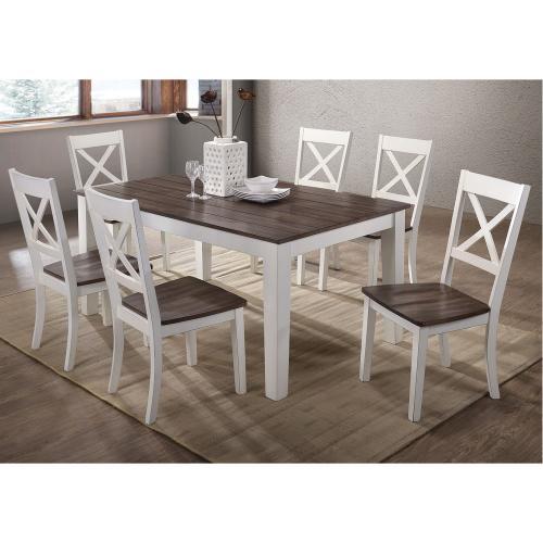 Gallery - 5057 A La Carte White 7-Piece Rectangular Dining Set