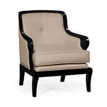Shallow Carved Black Painted Upholstered Occasional Chair