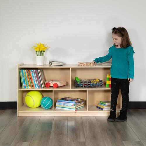 """Flash Furniture - Wooden 5 Section School Classroom Storage Cabinet for Commercial or Home Use - Safe, Kid Friendly Design - 24""""H x 48""""L (Natural)"""