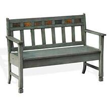 Green Bench w/ Storage & Wood Seat
