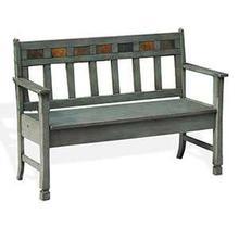 See Details - Green Bench w/ Storage & Wood Seat