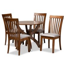 See Details - Baxton Studio Bailey Modern and Contemporary Grey Fabric Upholstered and Walnut Brown Finished Wood 5-Piece Dining Set