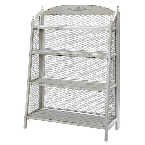 Crestview Collections - Lydia Pale Grey and Chicken Wire Bookshelf