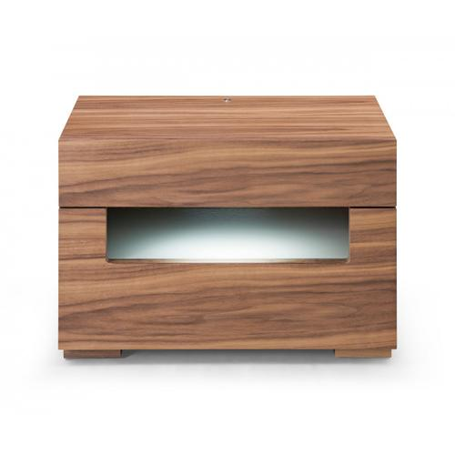 Modrest Ceres - Contemporary LED Walnut Nightstand