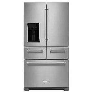 "KitchenAid25.8 Cu. Ft. 36"" Multi-Door Freestanding Refrigerator with Platinum Interior Design - Stainless Steel"