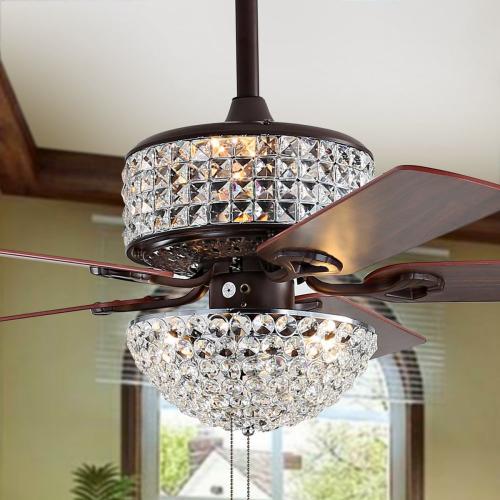 Safavieh - Nori Ceiling Light Fan - Dark Walnut With Black / Dark Walnut