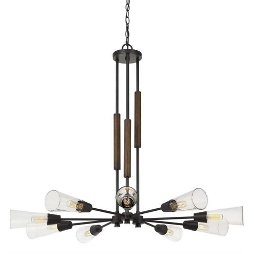 60W X 9 Vasto Wood/Metal Chandelier With Glass Shade (Edison Bulbs Not included)