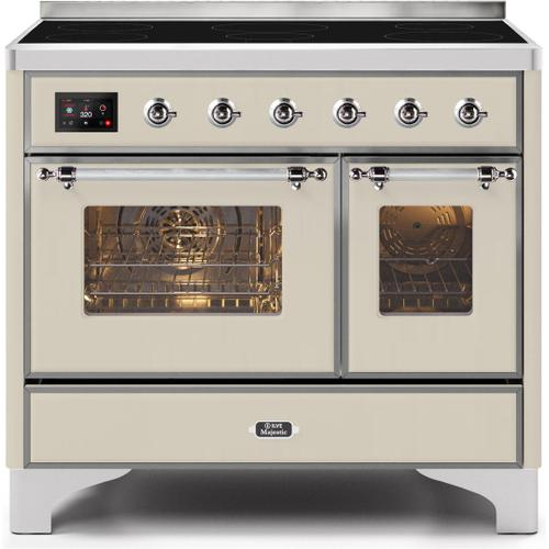 Majestic II 40 Inch Electric Freestanding Range in Antique White with Chrome Trim
