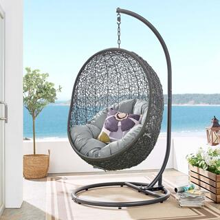 Hide Outdoor Patio Swing Chair With Stand in Gray
