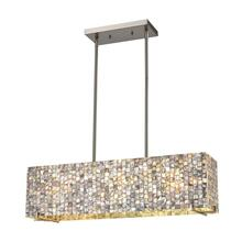 Capri 3-Light Linear Chandelier in Satin Nickel with Glass and Gray Capiz Shells