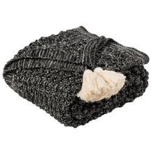 Pennie Knit Tassel Throw - Black / Natural