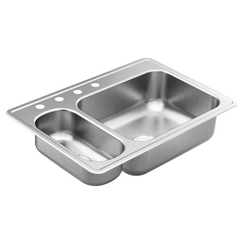 "2000 Series 33""x22"" stainless steel 20 gauge double bowl drop in sink"