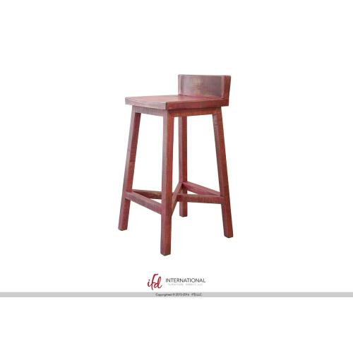"""30"""" Stool - with wooden seat & base- Pink finish"""