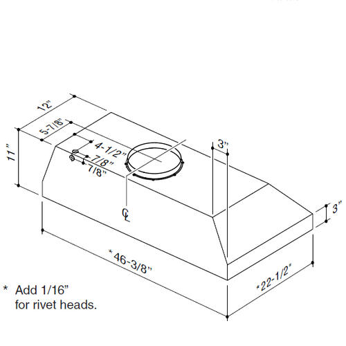 "BEST Range Hoods - 46-3/8"" Stainless Steel Built-In Range Hood with 1350 Max CFM Internal Blower"