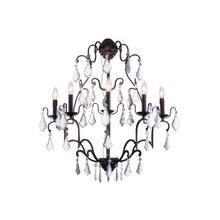 Charlotte Collection Wall Lamp W:28 H:36 E12 Lt:5 Antique Bronze Finish Clear Royal Cut crystal