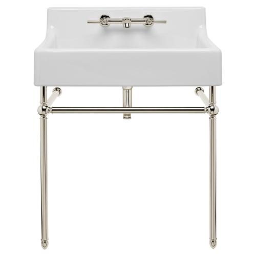 """Dxv - Oak Hill 24"""" Bathroom Sink with Console - Canvas White / Platinum Nickel"""